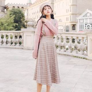2018 autumn and winter ladies new plaid long section detachable strap dress