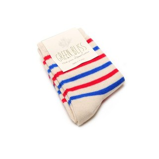 GREEN BLISS Organic Cotton Socks - Baby Series - Cypress Red & Blue Striped Children Socks