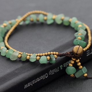 Jade Beaded Bracelets, Brass Beads Woven Braided Cuff Bracelets