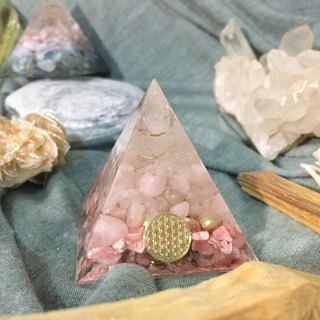 Orgonite Energy Tower - White Crystal Column, Pink Crystal, Red Stone