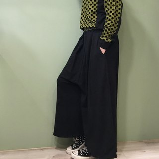[Pants] double fold pants skirts black and flocking little belt