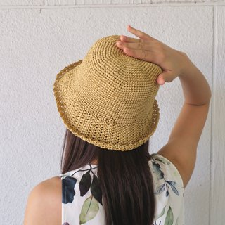 A mother's hand made cap - summer paper rope cap / simple middle cap / shallow yellow / outing / gift