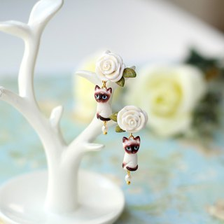 Charming Siamese cat with white rose Earrings, Siamese cat Earrings