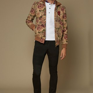 Silk flower baseball jacket