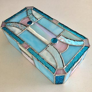 Tissue Box Case Turquoise & Shell Pink Glass Bay View