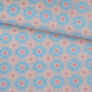 Hand-Printed Cotton Canvas - 250g/y / Old Ceramic Tile No.2 / Pink, Sky Blue
