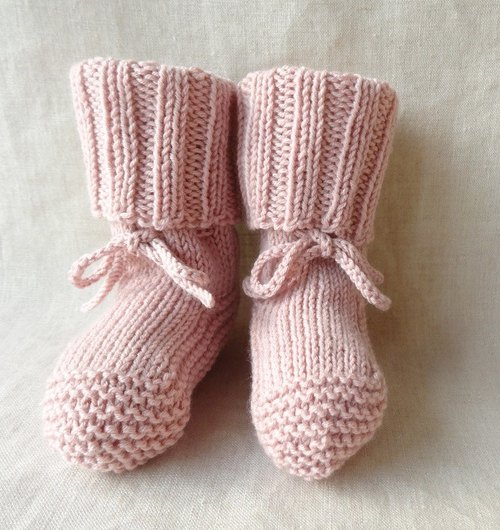 Rib knitting baby booties wool × cotton 6M ~ 211