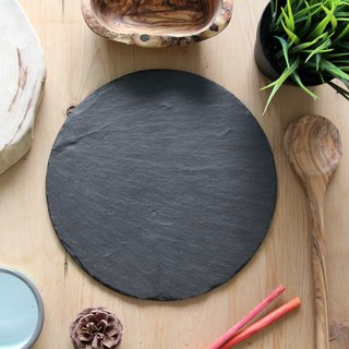 UK Selbrae House Natural Black Slate Circular Chopping Board/Pallet 25cm (two pieces in) - Spot
