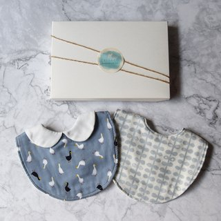 Blue saliva towel two-piece group moon gift box full moon gift male baby gift bib gift box newborn