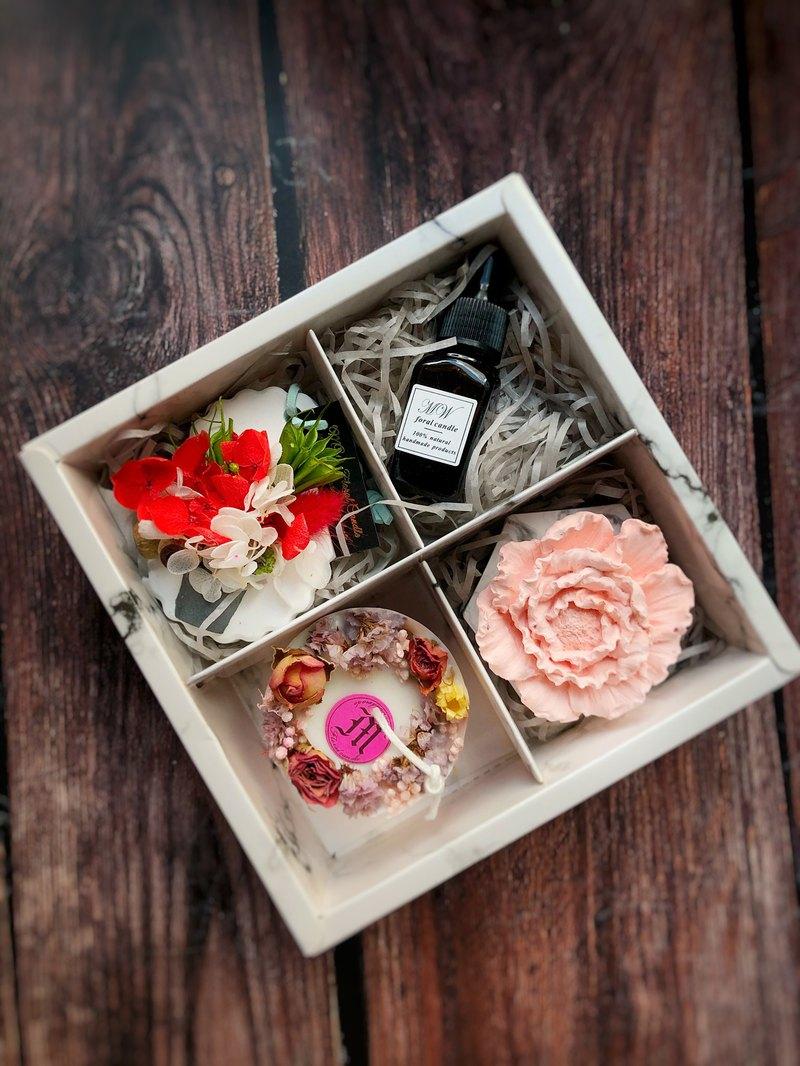 浪漫禮盒/乾燥花蠟燭/乾燥花擴香片/牡丹花擴香擺飾/交換禮物