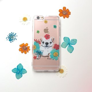 Flowers and small french fight: dry flower hand painted animal phone shell