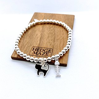 Cutie Cat and Fish Bone Silver 925 Bracelet