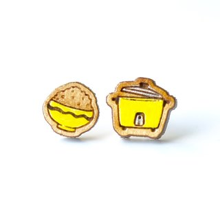 Painted wood earrings-Rice Cooker(yellow)