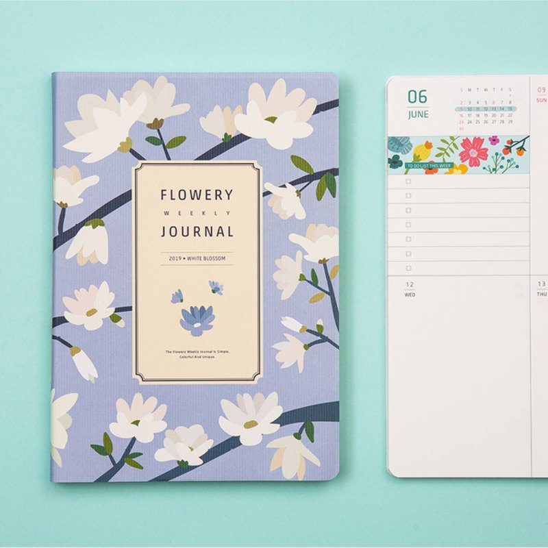 2019 FLOWERY WEEKLY JOURNAL Weekly Calendar - White Flowers