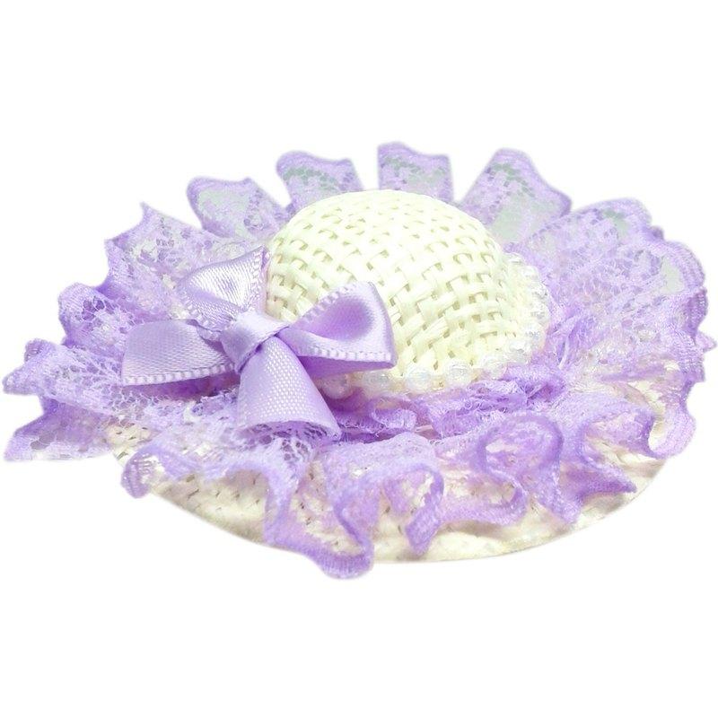 珍珠蕾絲蝴蝶結遮陽帽髮夾 全包布手工髮飾Sun Hat-Lilac