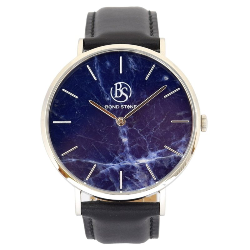BOND STONE SHINE LAPIS LAZULI Black leather belt 40mm Stone Watch