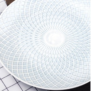 [JOYYE ceramic tableware] geometric life relief 10-inch disc (a set of 2)