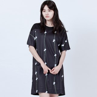 Straight floral flower oblique dress Flower Printed Dress With Mesh Details