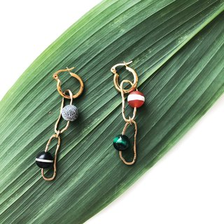 Geometric Brass Earrings 【Simple Design】【Natural Stones】