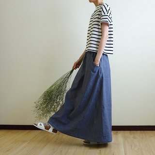 Daily hand-made suit autumn breeze dark blue denim long skirt linen cotton