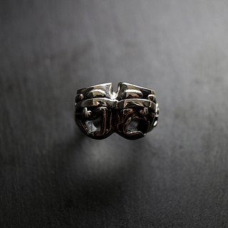 Sterling Silver Blind Smile Face Ring Feeling