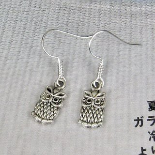 Ancient silver owl earrings