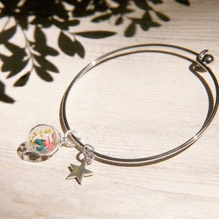 Valentine's Day gift / Department of Forestry / British sense of design geometry glass balls silver bracelet Bangle Bracelet - Tri-color flowers + stars