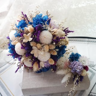 Happy flowers - not withered mixed dry bouquet of ping pong chrysanthemum blue purple exchange gift*Valentine's Day*wedding*birthday gift