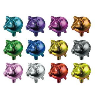 Hand-painted pig iron piggy bank savings tube