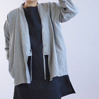 wafu   linen cardigan / outerwear / long sleeve / tops / Jacket / gray b37-2