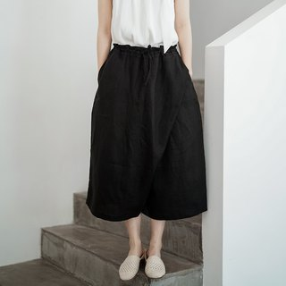 Black wild heavy drawstring neutral linen wide leg pants wide pants irregular cropped pants design men and women neutral