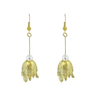 Flower chant. Branches brass pearl earrings