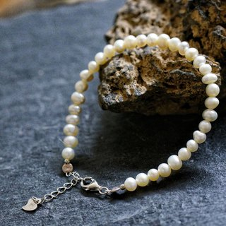 White Fresh Water Pearl Silver 925 Bracelet with Linear Memory Alloy