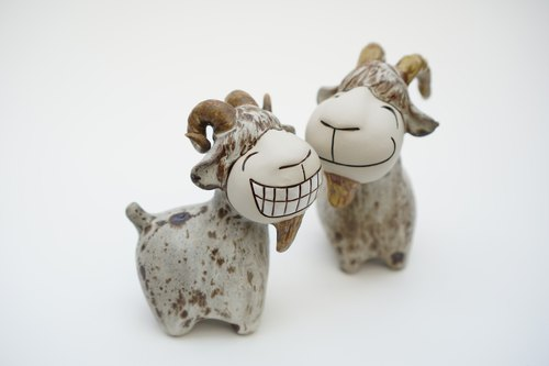 Pair Of Ceramic Goat Figurines, Ceramic , Handmade - Shop