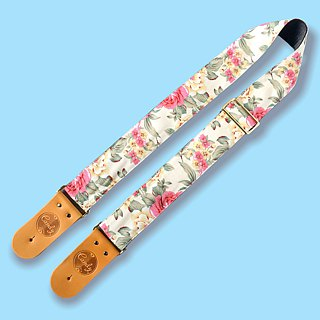 Yellow Pink Flora  Guitar Strap, Genuine Leather Guitar Strap