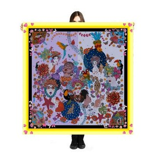 "Large Scarf/Sarong ""Women in Love"" 140x140cm Limited Edition 250 pieces"