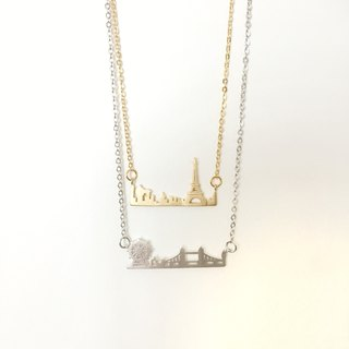armei 倫敦巴黎 浪漫之旅 雙吊墜項鍊 Romance Trip London & Paris Double Layer Pendant Necklace