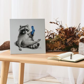 Raised Leg Raccoon - Aluminum Decorative Panel Decor Board AL6061