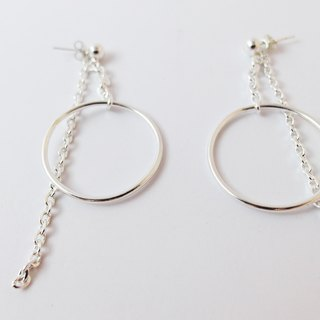 Zo.craft hanging big circle earrings - after the chain section / 925 sterling silver
