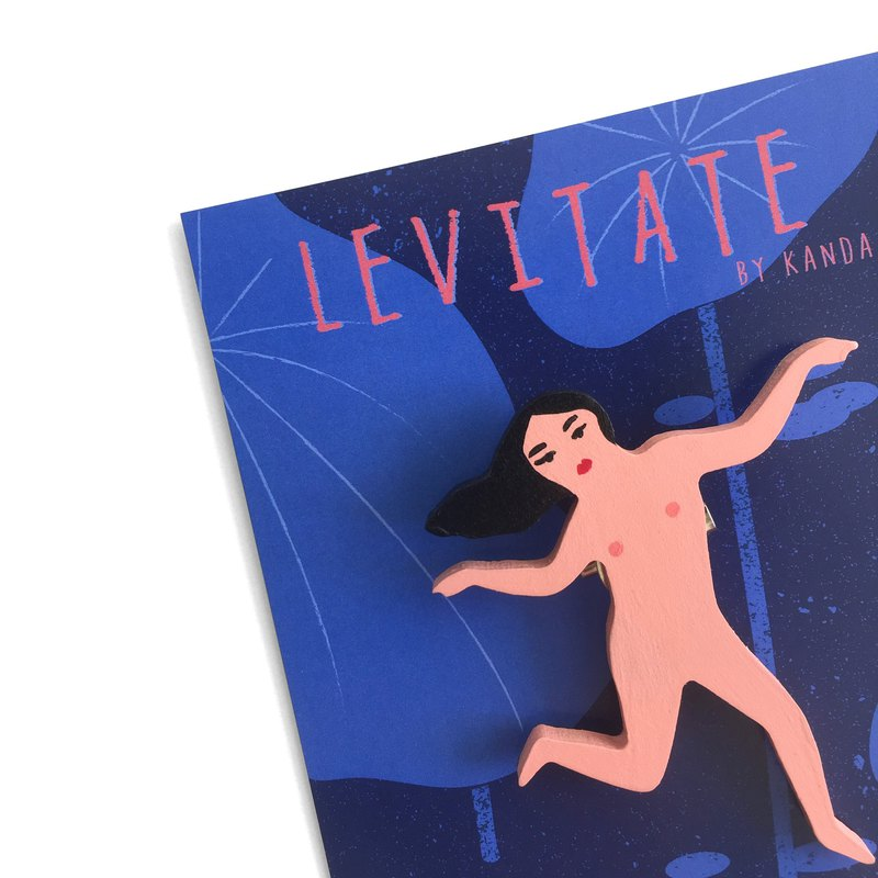 Levitate (Naked) Hand Painted Brooch
