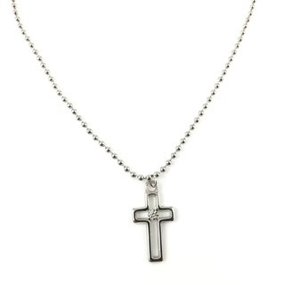 Silver diamond cross necklace (Swarovski rhinestones)