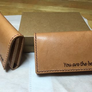 Tianyue hand leather leather large capacity business card holder free lettering