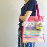 binli for Boy Tricks 手織布系列 彩色格子蕾絲花邊PVC帶子托特包 粉色&藍色