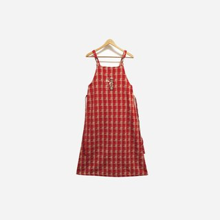 Discolored ancient / snoopy red plaid vest dress (bandage) no.274 vintage