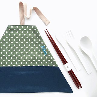 Utensil Wrap (Dark Green with dots x Peacock Blue)