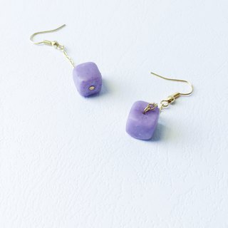 Cube Clay Hook Earrings - Jelly Violet