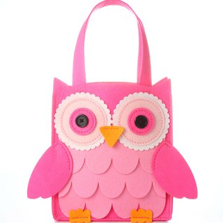 Fairy Land [Material Bag] Owl Tote Bag - Pink