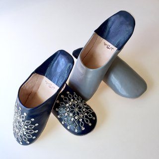 Babouche slippers Babushu Dumi Gray and No Alla Navy Set