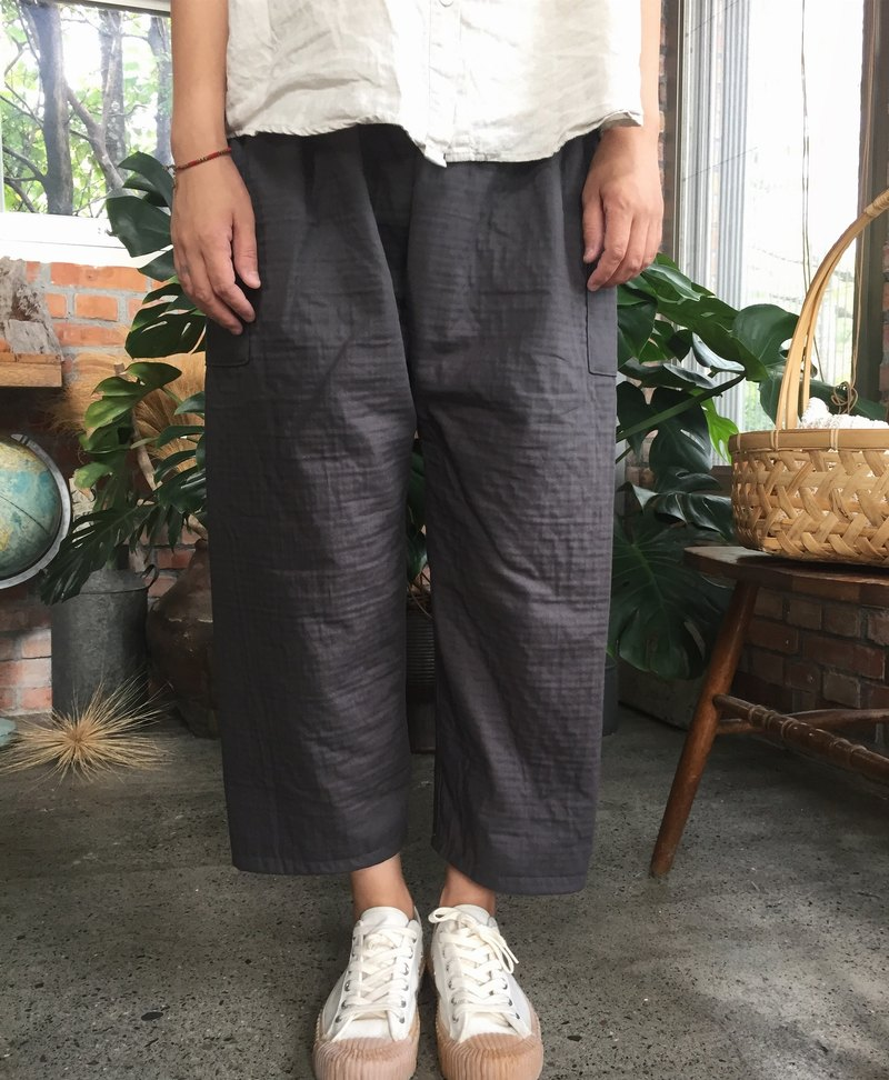 Autumn and winter thick double cotton master pants deep iron gray