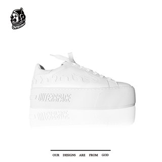 OUTER SPACE Dark Flame Platform Shoes (White)